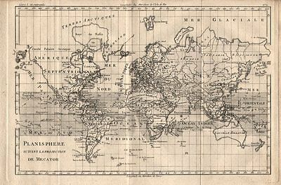 """Planisphere suivant la projection de Mercator"". World. BONNE 1780 old map"