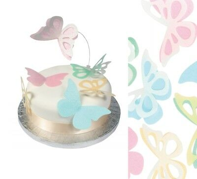 Edible Wafer Decoupage Butterflies Cup Cake Baby Shower Wedding Icing Decoration