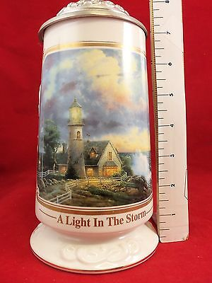 """Stein Pewter Lid. """"A light in the Storm"""" by Thomas Kinkade. Lighthouse. Ceramic"""