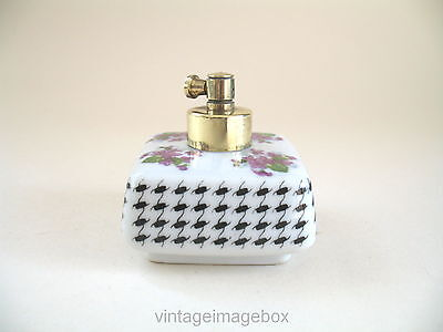Vintage porcelain perfume bottle, violet flowers chequer pattern, ceramic square