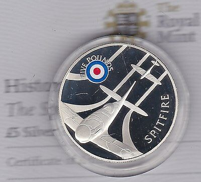 Boxed 2008 Saint Helena £5 Silver Proof Coin Spitfire History Of The Raf