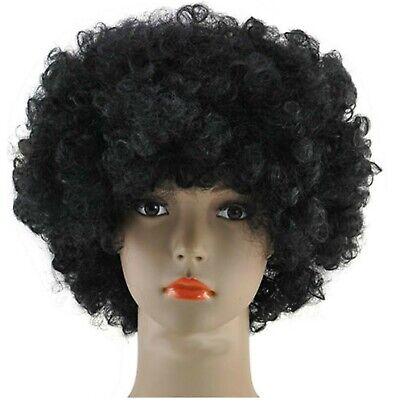 Black Afro Wig + Novelty Moustache Curly 80S 1980S Fancy Dress Wig Accessory