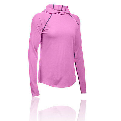 Under Armour Streaker Damen Langarm Kapuze Sport Jogging Top Laufshirt Rosa