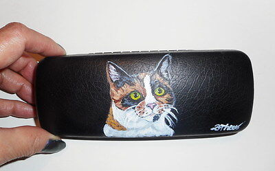 Calico Cat Hand Painted Eyeglass case Simulated Leather