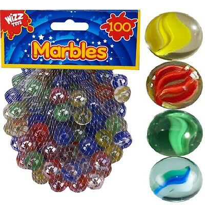 100 x Hi-Quality Sharp Colour Glass Marbles Traditional Toys Classic Kids Games