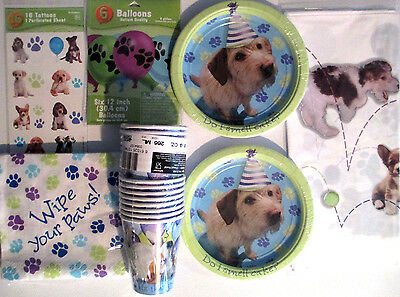 PARTY PUPS ! Puppy Dog Birthday Party Supply Kit w/ Temporary tattoos & Balloons
