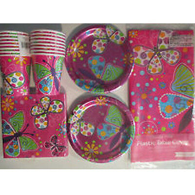 BUTTERFLY SPARKLE - Birthday Party Supply Set Pack Kit for 16