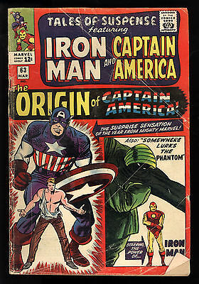 Tales Of Suspense (1959) #63 1st Print Origin Captain America Lee Kirby C/A Good