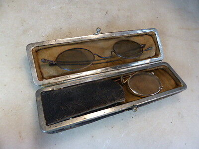 Antique French set of spectacles and pince nez in case