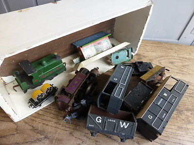 Box load of antique toy train items