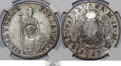 PHILIPPINES. 8 Reales, ND. Struck on Peru 8 Reales 1832. NGC VF30