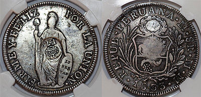 PHILIPPINES. 8 Reales, ND. Struck on Peru 8 Reales 1833; RARE TYPE 5. NGC VF25.