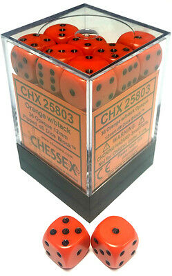 Chessex Dice: Opaque 12mm D6 Orange/Black (36) CHX 25803