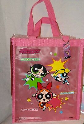 "New With Tags Powerpuff Girls Translucent  Pink Vinyl Bag 10"" X 12"""