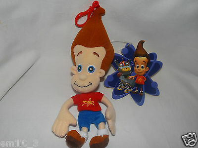 "New With Tags  Jimmy Neutron Plush Clip 9"" For Backpacks Nickolodeon"