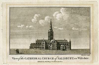 CATHEDRAL CHURCH of SALISBURY Fine ENGRAVING Alexander Hogg c1800