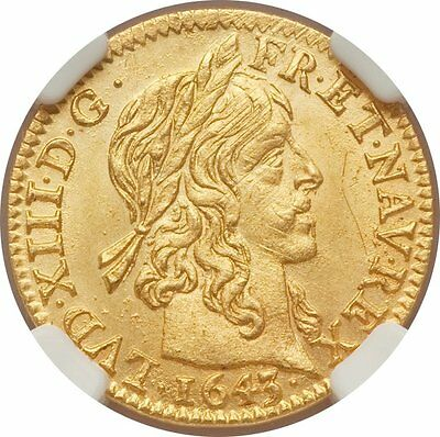 CHOICE UNCIRCULATED FRANCE 1643 1/2 Louis d'or of Louis XIII - NGC MS-63