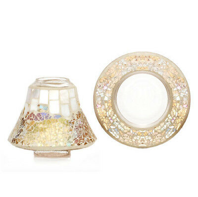 Yankee Candle Gold and Pearl Small Shade and Tray FREE P&P