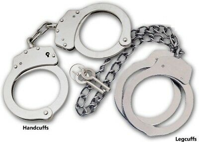 SILVER COMBO Set Handcuffs Hand & Leg Cuffs !! Double Locking REAL