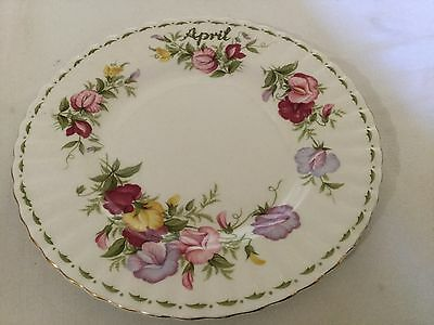 "Royal Albert China 8"" Plate England   Flower/month--Sweet Pea--April"