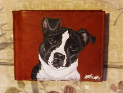 American Staffordshire Bull Terrier Dog Hand Painted Leather Wallet for Men