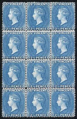 St Vincent SG61 2 1/2d Blue a lovely Un-mounted Block of 12 with fresh colour