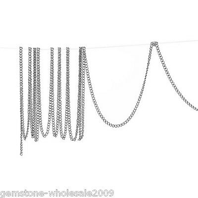 Wholesale W09 Lots Silver Tone Links-Opened Curb Chains For Necklace 2x1.5mm 10m