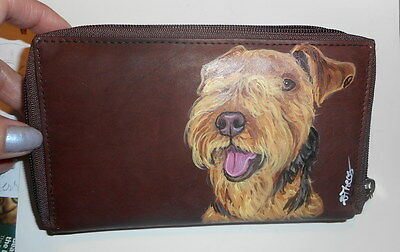 Lakeland terrier dog Hand Painted Ladies Leather Wallet