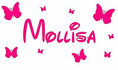 Personalised Name Butterfly Wall Art Girls/Kids Bedroom Vinyl Sticker 15 colours