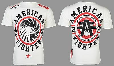 AMERICAN FIGHTER Mens T-Shirt BRADLEY Eagle WHITE Athletic Biker Gym MMA UFC $40