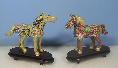 Vintage cloisonne horses pair on display wood stand circa mid 1900s used ch36 c