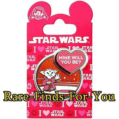 "Authentic Disney Parks Star Wars Yoda Valentines Day ""Mine Will You Be?"" Pin NEW"