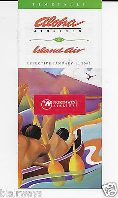 Aloha Airlines & Island Air Timetable 1/2002 Beth Marcil Catamaran Rowers Cover