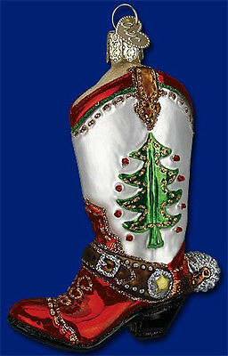 CHRISTMAS COWBOY BOOT Glass Ornament Old World Christmas NEW IN BOX