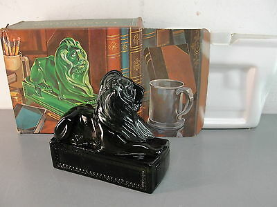 Avon Emerald Green Classic Lion Glass Decanter Deep Woods After Shave Vtg Nib