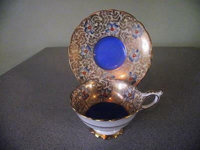 Royal Stafford Blue With Flowers Gold Leaf Widemouth Teacup and Saucer
