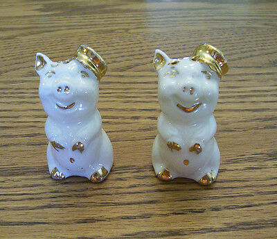 Antique White with Gold Pig Salt & Pepper Shaker Set