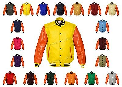 Faux Leather Sleeve Letterman College Varsity Kid Wool Jackets #ORSL-BSTR-BB-FL-