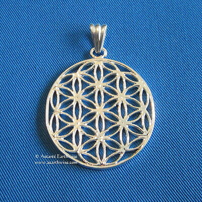 1 x FLOWER OF LIFE PENDANT - SILVER PLATED - 34 mm Wicca Pagan Witch Goth