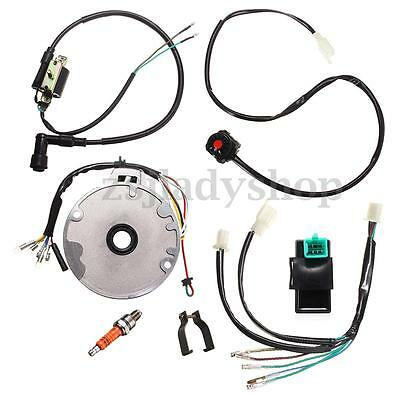 cc mini atv complete wiring harness cdi stator 50 70 90 110 125cc atv kick start cdi wiring harness coil kill magneto assembly