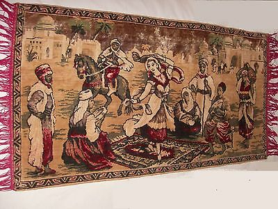 BELGIUM Vintage Rug Wall Hanging Tapestry, Middle Eastern Woman Dancing SUPERB!