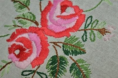 Spring Garden Rose Duo In Bloom! Vtg German Hand Emb Tablecloth Valentines Day