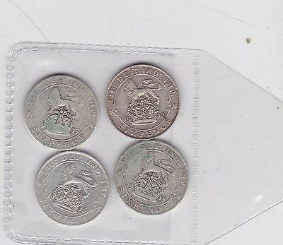 Four Silver Sixpences Dated 1912/1915/1916 & 1919 In Fine Or Better Condition