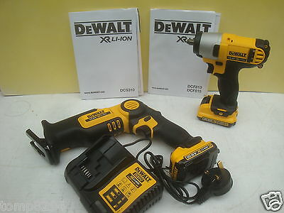 Dewalt 10.8V Dcs310 Recip Saw & Dcf813 Impact Wrench 2 Ah Li-On + Cases