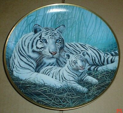 Franklin Mint Collectors Plate WHITE TIGERS Tiger