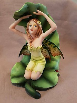 Gorgeous Fairy On Green Leaf Home Or Garden Statue Ornament Decor