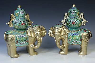 Fine Beautiful Chinese Famille Rose A Pair Porcelain Elephant & Gourd Statue