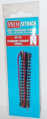 Peco N Setrack ST-10 - Standard Straight (Wired) - (N Gauge)