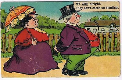 Comic Postcard Plump Couple Strolling Continental Postcard Manchester