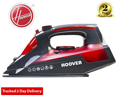 HOOVER TIM2500C IRONJet 2500W Anti Drip/Scale Ceramic Steam Iron - Red/Grey